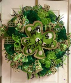 St. Patricks Day Burlap Wreath on Etsy, $125.00