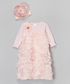 OMG!! Wish I had this for Mikayla when she was a Baby!!  Truffles Ruffles Pink Floral Gown & Beanie - Infant by Truffles Ruffles