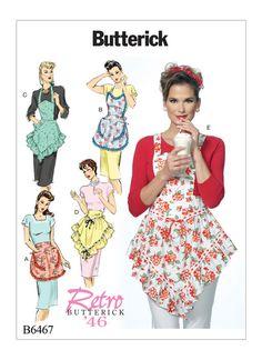 Retro Butterick 1946 apron sewing pattern. B6467