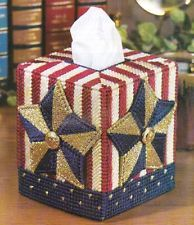 STARS & STRIPES TISSUE BOX COVER PLASTIC CANVAS PATTERN INSTRUCTIONS