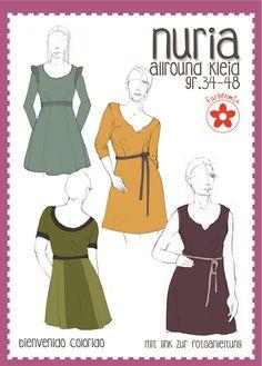 """Allroundkleid """"Nuria"""" mit kurzen und langen Ärmeln ► Papierschnittmuster + Nähanleitung von Bienvenido Colorido Gr. 34 bis 48 ● für Jerse..."""