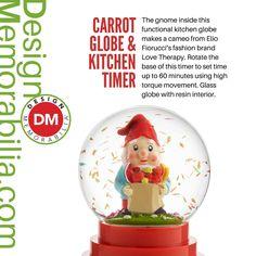 Carrot Globe & Kitchen Timer designed by Elio Fiorucci // #DesignMemorabilia #Italy #kichen #kitchenware #home #homedecor #shop #gift #creative #design #carrot #globe #kitchentimer #ElioFiorucci