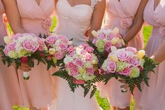 Pink Rose Bouquets Flowers Bride Bridal Bridesmaids Henry VIII Meets Game of Thrones Castle Wedding http://www.claretamim.co.uk/