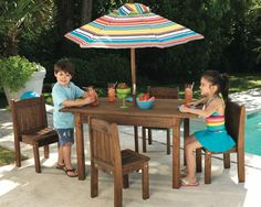 We're loving this kid sized patio set! This kid-style table and umbrella is great for birthday parties or small get-togethers at home :)