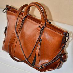 Fashion Handbag Lady Shoulder Bag Tote Purse Oiled Leather Women Messenger New #Unbranded #TotesShoppers