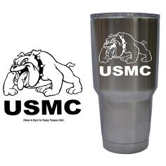United States Marine Corps (USMC) Full Body Bulldog Decal for YETI 30 oz Rambler Tumbler Cup (DECAL ONLY) Glossy Permanent Vinyl.  Purchase this product along with all of our other spectacular decals through one of the following links:   https://www.etsy.com/shop/MiaBellaDesignsWI  http://www.amazon.com/s?marketplaceID=ATVPDKIKX0DER&me=A2MSEOIVL689S1&merchant=A2MSEOIVL689S1&redirect=true
