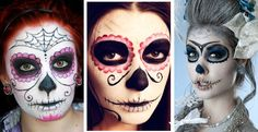 Sugar Skull Makeup Designs | pretty Day of the Dead style skull face makeup