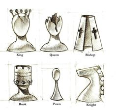 Patch Together :: Designs :: Surreal Chess Pieces