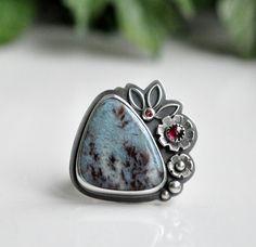 Larimar Garnet Ring, Tourmaline Ring, Oxidised Sterling Silver Ring, Gemstone Metalwork Ring - Inflorescence Ring in Larimar by christinewalsh on Etsy https://www.etsy.com/listing/212876921/larimar-garnet-ring-tourmaline-ring