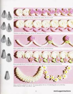 Cake Decorating Piping, Cake Decorating Designs, Cake Decorating Techniques, Cake Designs, Cookie Decorating, Decoration Patisserie, Dessert Decoration, Pretty Birthday Cakes, Pretty Cakes