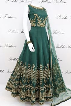 Vintage Dresses Dark Green Soft Silk Designer Outfit With Elegant Work - Look significant in this timeless dark green designer soft chanderi silk outfit Featuring elegant sequin embroidered work on top Indian Fashion Dresses, Indian Dresses Online, Indian Gowns Dresses, Indian Outfits, Evening Dresses, Afternoon Dresses, Flapper Dresses, Best Designer Dresses, Indian Designer Outfits