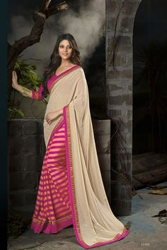 Cream With Pink Chiffon Designer Saree