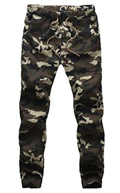 Myncoo Men's Skinny Cotton Camouflage Jogger Pants Drastring Sweatpants Military Green