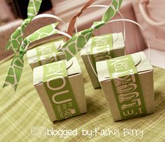 Here is what I used:  ~Bag of Rolo Candies  ~Green Baby Shower Gift boxes from the Dollar Tree  ~Free Printable Tags from The Crafting Chicks  ~Ribbon from Wal-Mart  ~Tape