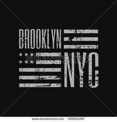 Vector illustration on a theme of New York City, Brooklyn. Stylized American flag. Grunge background. Typography, t-shirt graphics, poster, banner, print, flyer, postcard