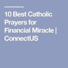 10 Best Catholic Prayers for Financial Miracle | ConnectUS