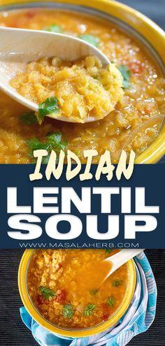 Easy Indian Lentil Soup Recipe [Vegan] - How to make Indian lentil soup, red len. Lentil Soup Recipes, Best Soup Recipes, Chowder Recipes, Vegetarian Recipes, Healthy Recipes, Drink Recipes, Healthy Food, Indian Lentil Soup, Red Lentil Soup