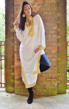 Winter Mariam Style White Moroccan Caftan Kaftan- as loungewear, as beachwear, birthday,honeymoon gifts, beach cover up, wedding gifts,boho by MaisonMarrakech on Etsy