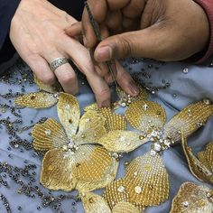 Teamwork is dream work | #handembroidery #flower #applique #artisanal #embellishments #gown #inthemaking #beading #broderie #bordado #ricami #fashion #embroidery #design #teamwork