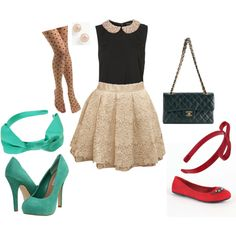 More Bows, Please.- Interview Attire by Ciera Kensington. skirt, red flats, tights, peter pan collar top, blouse