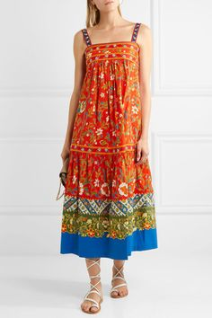 Tory Burch - Dayton Embroidered Printed Cotton-blend Midi Dress - Orange - US10