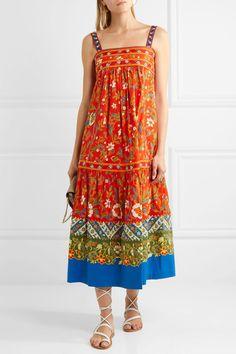 Tory Burch - Dayton Embroidered Printed Cotton-blend Midi Dress - Orange - US10