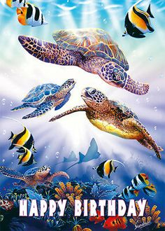 """By Sundram. Turtle Dive. 4 Greeting Cards (5 X 7 in.). and matching Envelopes. • """"Hau'oli La Hanau!"""". FULL CUSTOM CARD DESIGN & PRINTING SERVICE (CHOOSE AN IMAGE FROM OUR LARGE ARCHIVE OR USE YOUR OWN ARTWORK/PHOTO). Happy Birthday Turtle, Happy Birthday Animals, Happy Birthday Images, Happy Birthday Greetings, Funny Birthday Cards, Birthday Greeting Cards, Turtle Dove, Custom Cards, Printing Services"""
