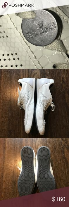 Hogan Soft Leather Sneakers Made in Italy. Round toeline. Leather lining. Very slight scuff on right heel - see photo. Rubber cleated sole. Logo. Worn a few times. EUC. Hogan Shoes Sneakers