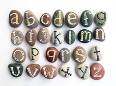 Alphabet Stones with Magnets, Funny ABC, Cheap Gift Ideas, Painted Sea Stones… Pebble Stone, Pebble Art, Stone Art, Painted Sticks, Hand Painted Rocks, Land Art, Paint Stick Crafts, Happy Emotions, Magnetic Chalkboard