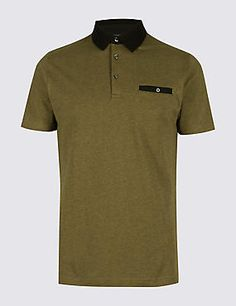 Pure Cotton Slim Fit Textured Polo Shirt