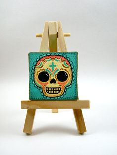 Sugar Skull Mini Canvas Painting by MyMayanColors on Etsy, $20.00