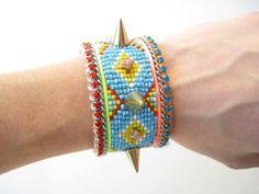 Neon cuff bracelet  tribal bracelet navajo by distinguishedesigns, $100.00