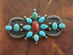 Sterling silver, Lone Mountain turquoise and coral brooch by Calvin Martinez, Navajo