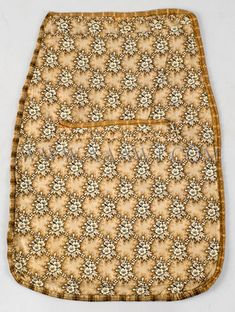Antique Pocket, Sewing Pocket, Whole Cloth, Brown Floral Cotton, entire view