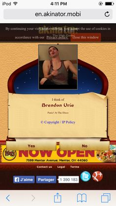 CAN WE PLEASE APPRECIATE THE PICTURE AKINATOR CHOSE FOR BRENDON URIE <<OH MY GOD