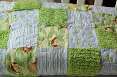 Premade Panel Baby Quilt by Pleasant Home, via Flickr USE THAT NEW TOWEL FABRIC I JUST GOT AND FLANNEL…CUTE!!!!