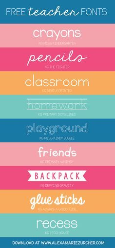 Back to school, back to school! I recently came across a few darling fonts that I think would be PERFECT for teachers. I'm a huge fan of Kimberly Geswein fonts - soooo cute - and the best part about t (Favorite Fonts For Silhouette) Cute Fonts, Fancy Fonts, Web Design, Type Design, Vector Design, Graphic Design, Blog Design, Teacher Resources, Teacher Fonts Free