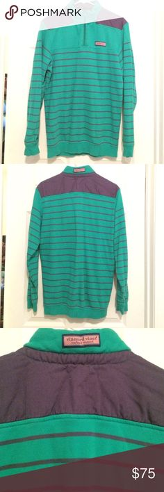 Men's striped Shep Shirt XS Purple and green stripes with purple shoulders. Men's XS. 100% cotton. Machine wash cold with like colors. Tumble dry low. Barely worn. Vineyard Vines Sweaters Zip Up