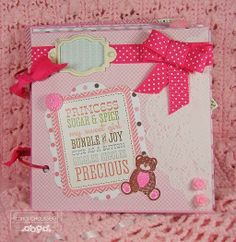 Baby girl mini scrapbook! Created using Echo Park 'Bundle of Joy' papers and stickers! Secretbees Studio: Baby Mini 2!