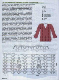 crochelinhasagulhas: Blusa com ponto abacaxi em crochê