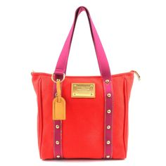 LOUIS VUITTON Antigua Cabas MM Tote Bag Red M40034 Used F/S