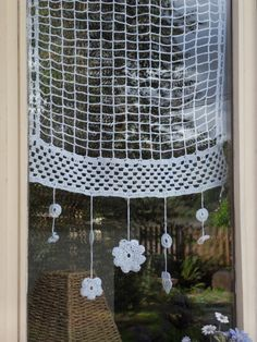 rideau crochet fleurs 40x50