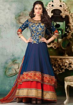 Blue Faux Georgette Abaya Style Churidar Kameez Online Shopping: KCR5922