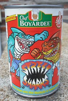 Street Sharks Chef Boyardee.  I remember there also being X-Men, Teenage Mutant Ninja Turtles, and dinosaurs shaped ones.