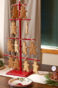 Gingerbread Cookies Display - one of my favorite Christmas ornaments looks like this. The miniature cookies are adorable.