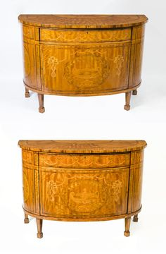 Pair Satinwood Demi Lune Cabinets Commodes Early 20th C in Antiques, Antique Furniture, Chests of Drawers, 20th Century | eBay