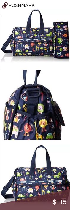 LeSportsac Baby Travel Bag Zoo Cute NWT Baby travel bag with changing pad. Stroller hooks and cross body strap. Brand new with tags. Zoo cute print on navy background. LeSportsac Bags Baby Bags