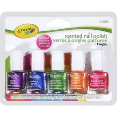 """Fing'rs Crayola Scented Nail Polish, fl oz, 5 count walmart, for a """"manicure bar? Crayola, Nails For Kids, Make Beauty, Beauty Tips, Artificial Nails, Bubble Gum, Nail Care, You Nailed It, Nail Colors"""