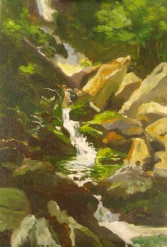 Painting Safari in New England, Part II.  This is a painting of my son, Samuel, filling up water bottles at Race Brook Falls.  Race Brook Falls trail is an access trail to the Appalacian trail in Massachusetts.