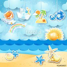 New! :) #summer #beach #holiday #vacation #fantasy #vector #papercut https://us.fotolia.com/id/114516517